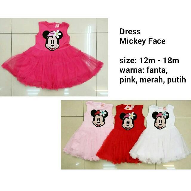Dress Mickey Face - Baju Anak Lucu Murah, Bahan Kaos Adem