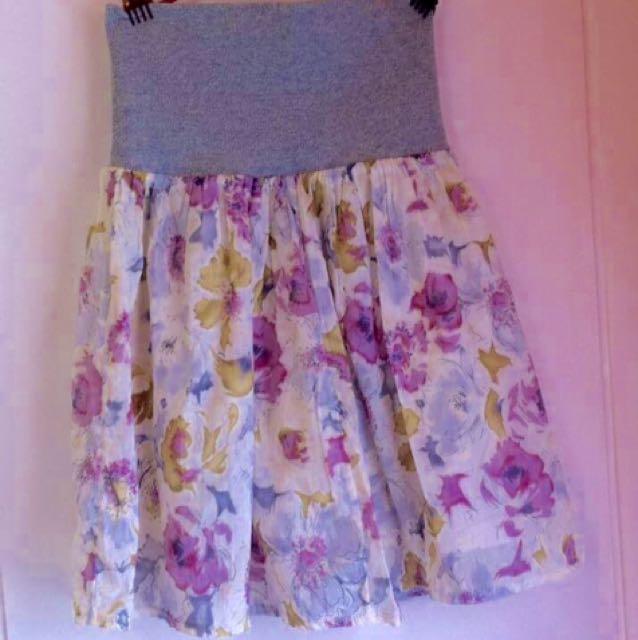 Floral Hi Waist Mini Skirt