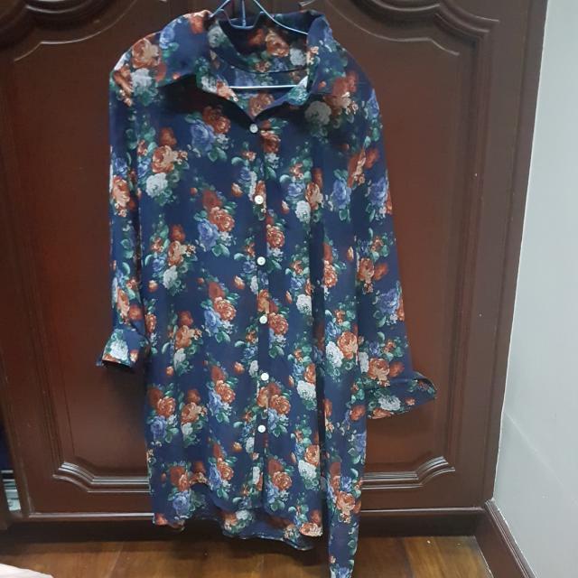 FLORAL PRINT SHIRT DRESS FREE SIZE (CAN FIT XS-M)