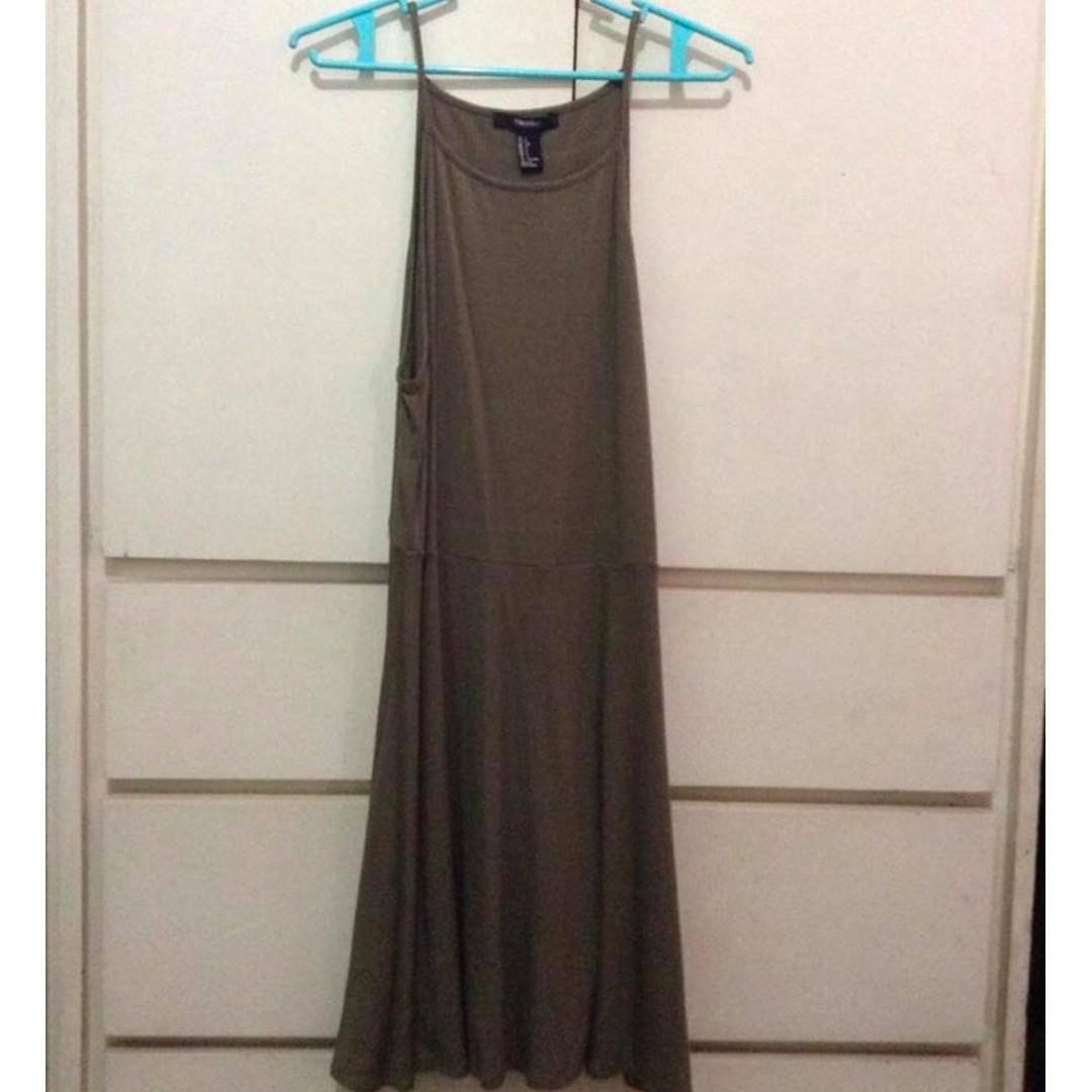 Forever 21 olive green ribbed halter dress