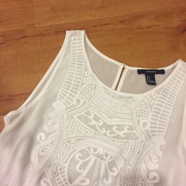 Forever 21 White Chiffon Embroidered Dress