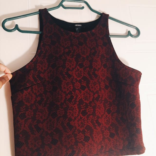 Forever 21 WINE RED CROP TANK TOP