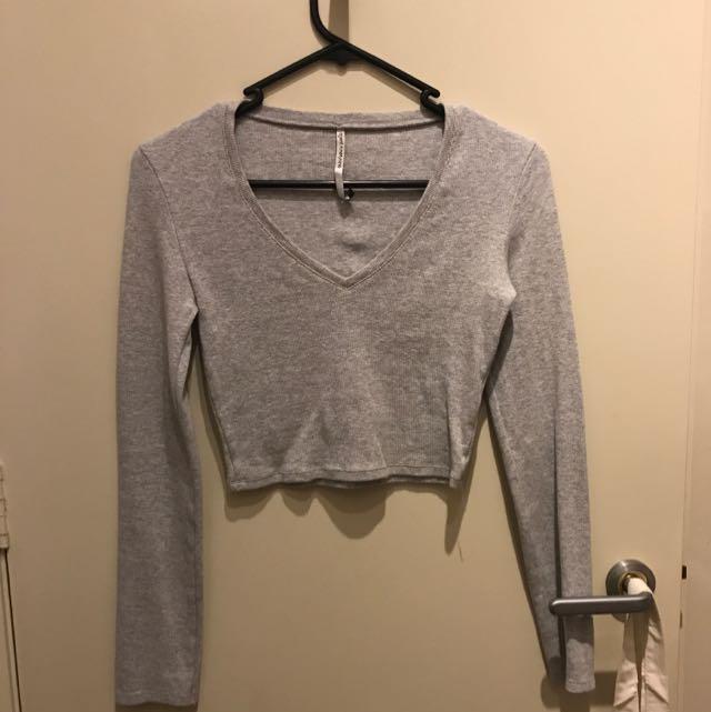 Grey Crop Long Sleeve