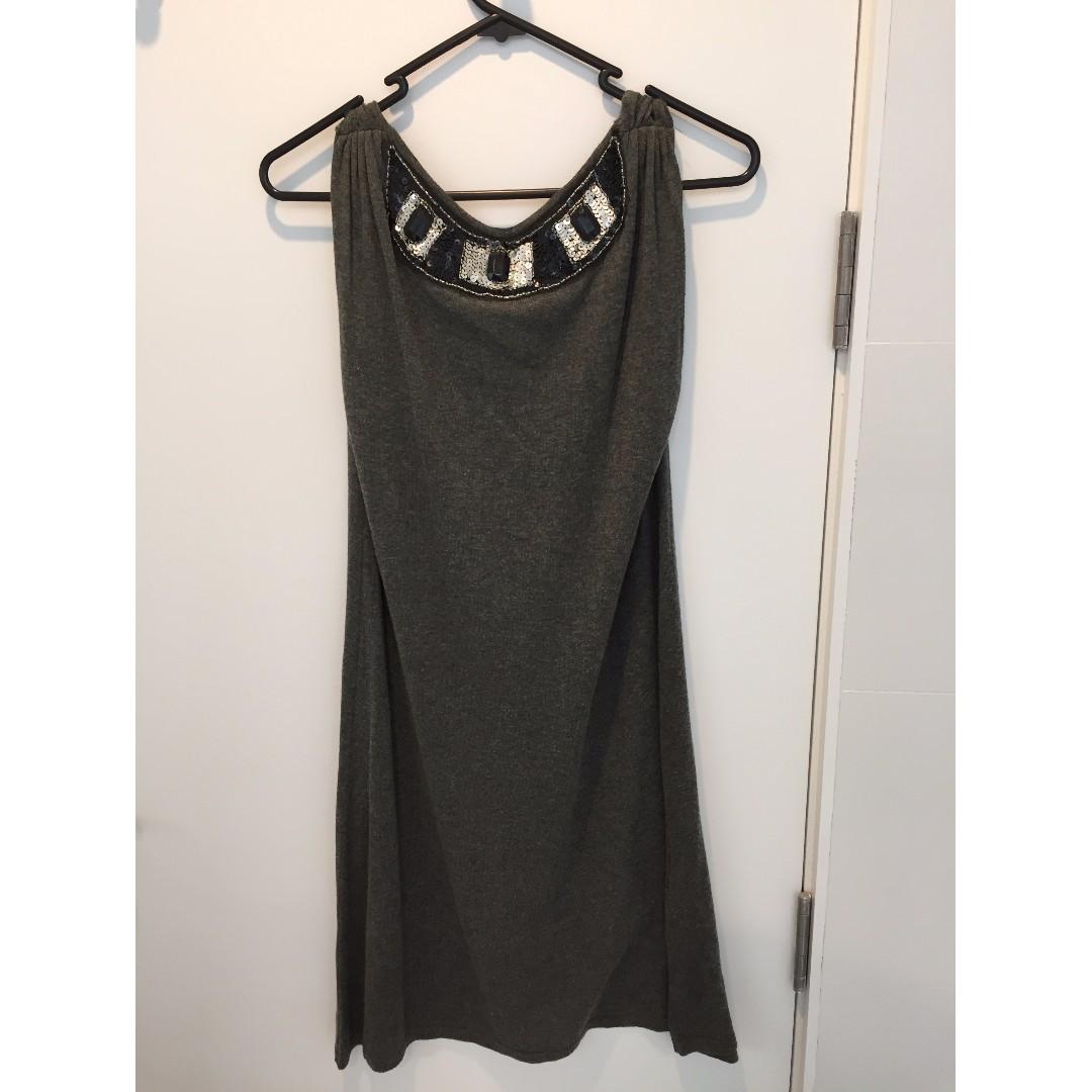 Grey embellished shift dress with low back