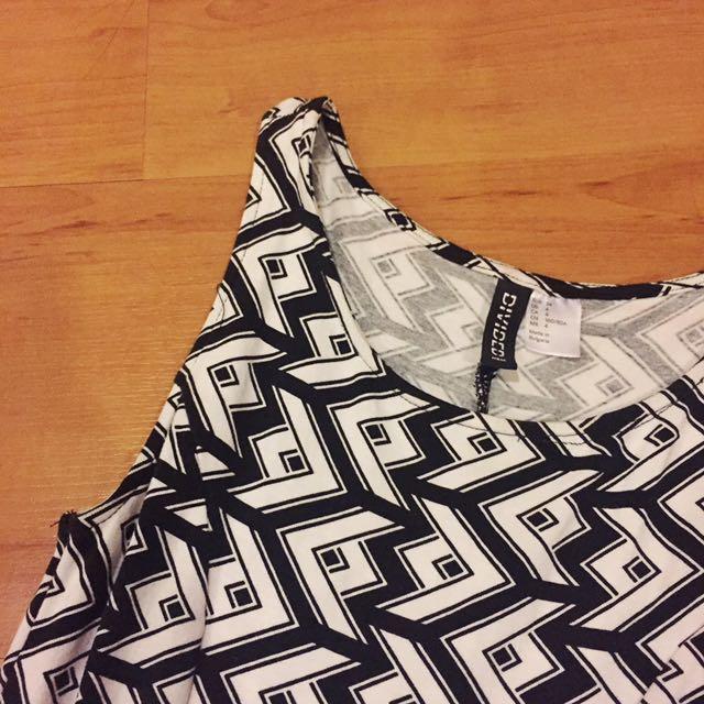 H&M Black And White Skater Dress
