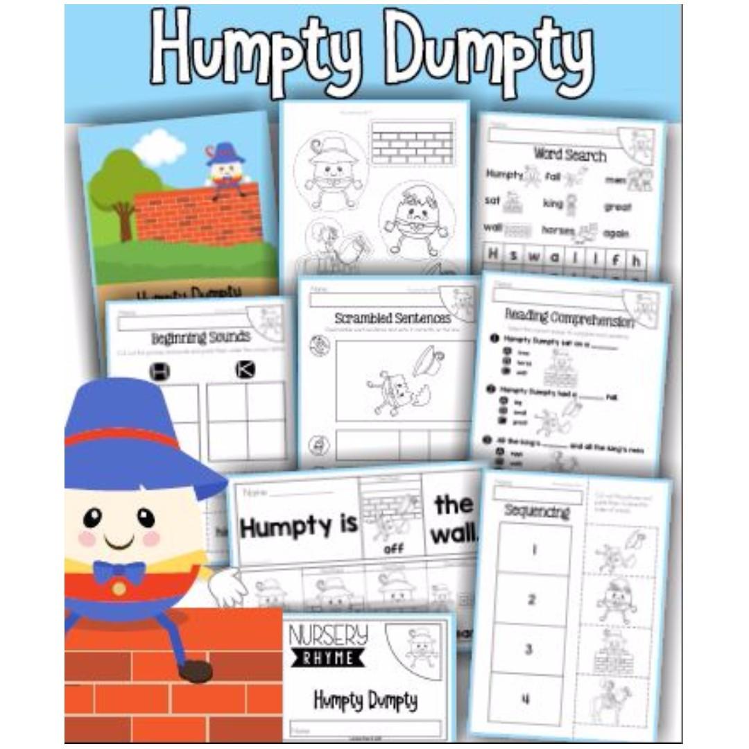 Humpty Dumpty Nursery Rhyme Activity Pack, Babies & Kids on