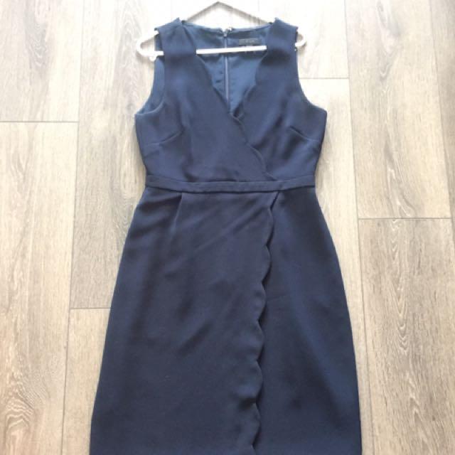 J Crew Navy Scallop Trim Dress