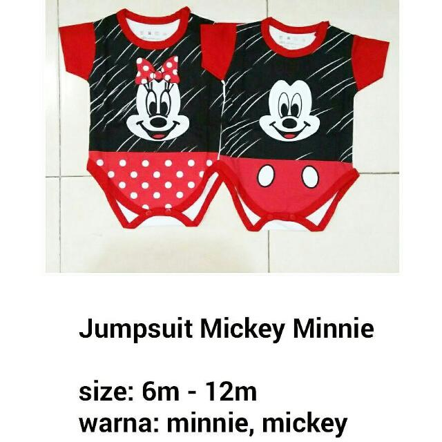 Jumper Mickey Minnie - Baju Jumpsuit Anak Lucu Murah, Bahan Kaos Adem
