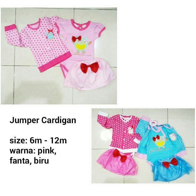 Jumper Set Cardigan - Baju Jumpsuit Anak Murah, Bahan Kaos Adem
