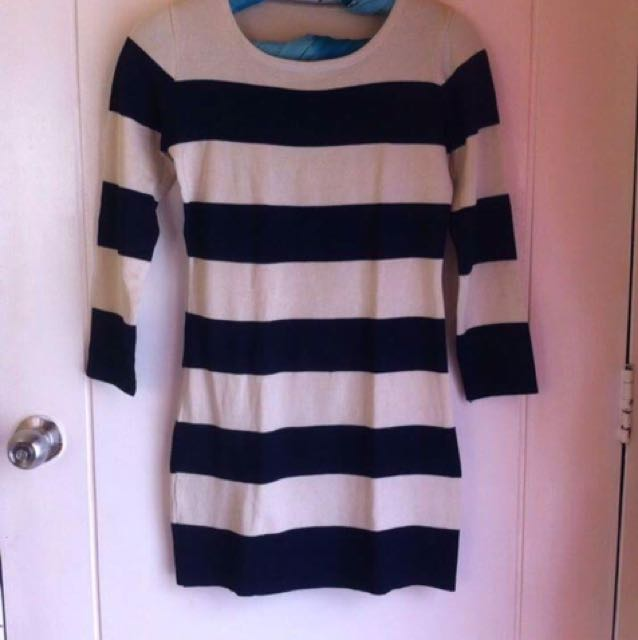 Knitted Stripes Body con Dress
