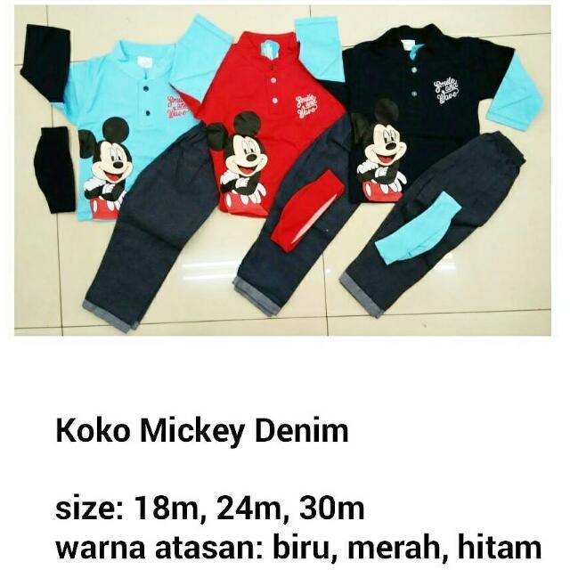 Koko Mickey Denim - Baju Muslim Anak Murah, Bahan Adem