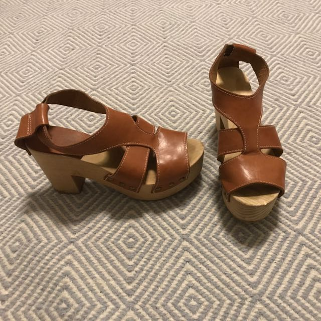 Leather And Wood Clogs - Size 7