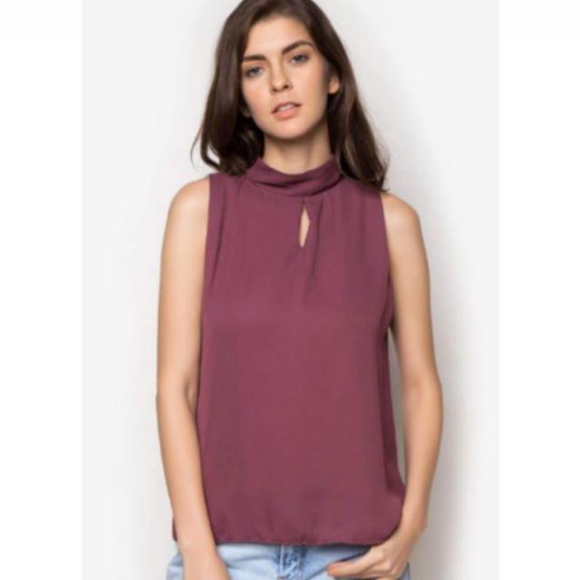 Mock Purple Sleeveless Top
