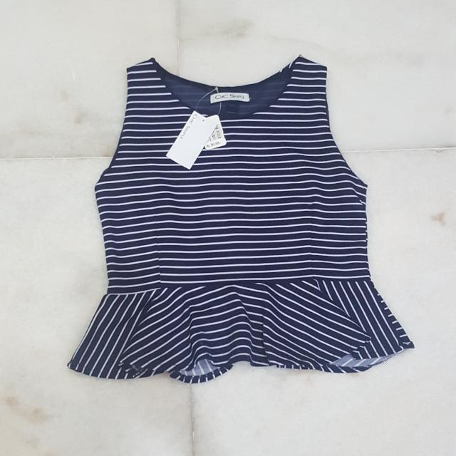 New Chic Simple Navy Blue Stripe Peplum Top