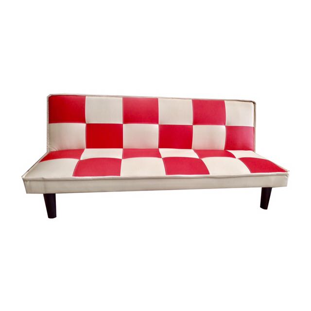 Tremendous New Red And White Checkered Sofa Bed Pu Leather Single Bed Ncnpc Chair Design For Home Ncnpcorg