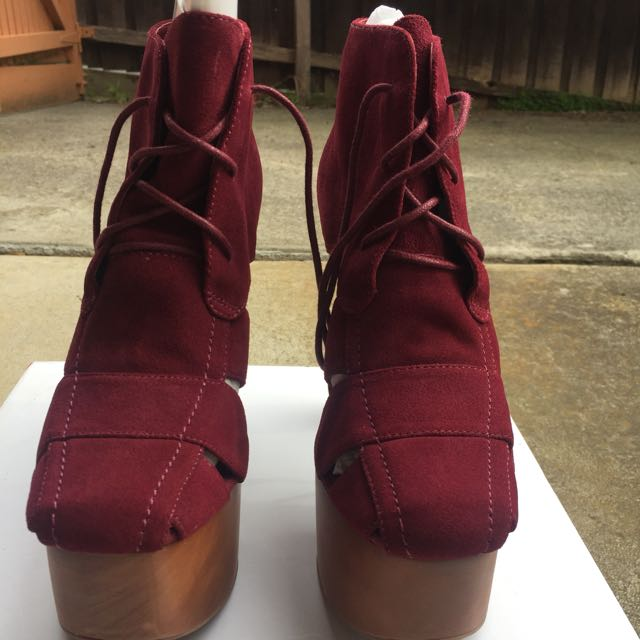 NEW RRP $200 Jeffrey Campbell Ford Suede Burgundy/red Cutout Platform Chunky Heel Ankle Boot SZ 8.5