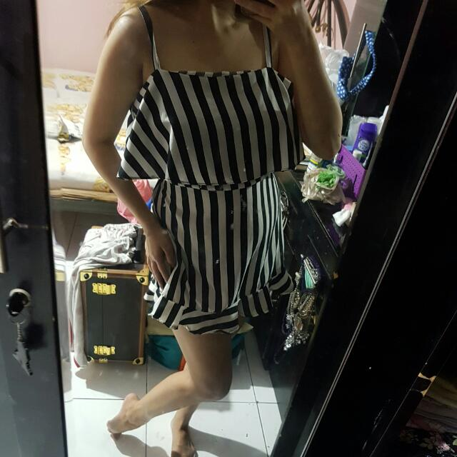 NEW Stripe Double Dress (Baju Bangkok /baju Bkk / Celana / Jeans / Dress / Hotpants / Jumpsuit / Baju Kodok / Overall)