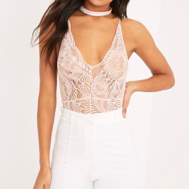 Nude Sheet Lace Cross Back Bodysuit Size 8