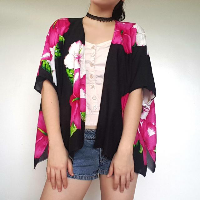 Pink and Black Floral Kimono