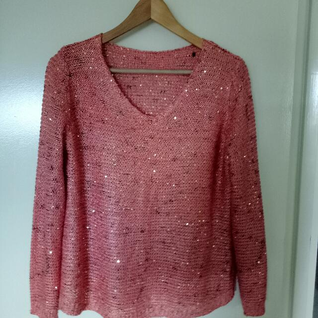 Pink Long Sleeve V Neck