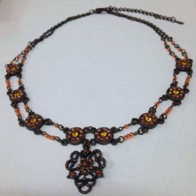 Pink-orange Flower Necklace