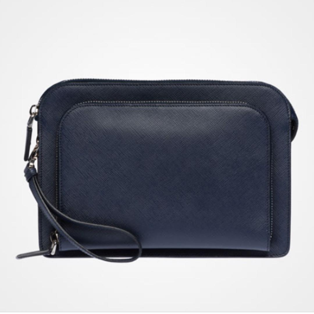 642767f33b16 Prada Saffiano Leather Men s Clutch Bag (Baltic Blue)