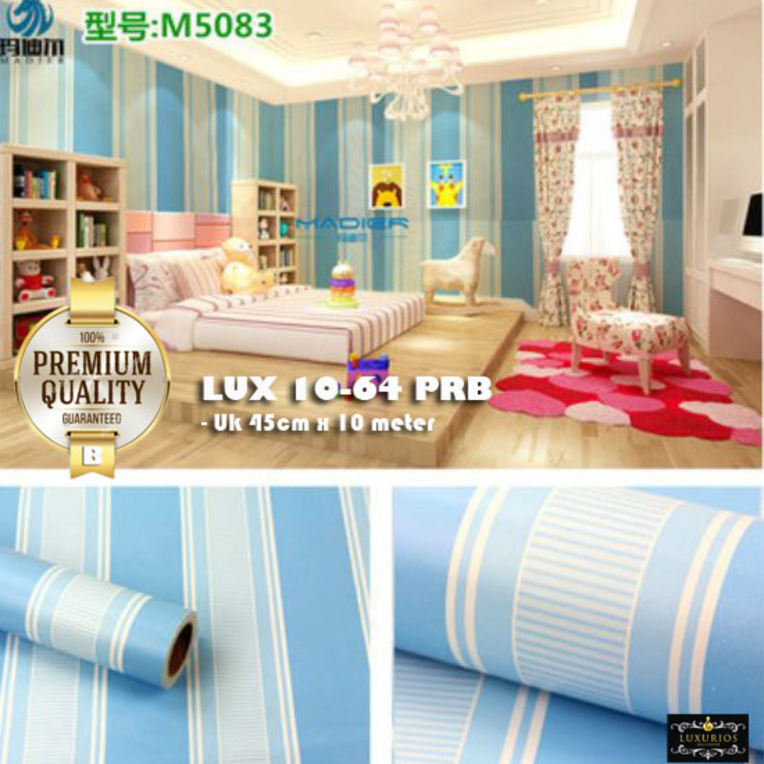 (PREMIUM QUALITY) Luxurious Wallpaper LUX 10-64 PRB - Motif Garis/Salur Biru