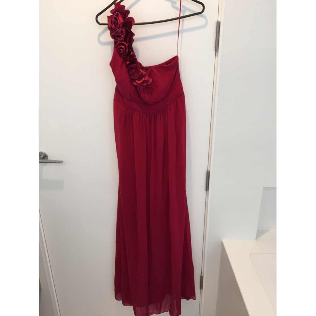 Red one shoulder prom dress/ball gown with floral applique