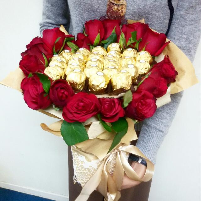 Red Rose & Ferrero Rocher Bouquet, Design & Craft, Others on Carousell