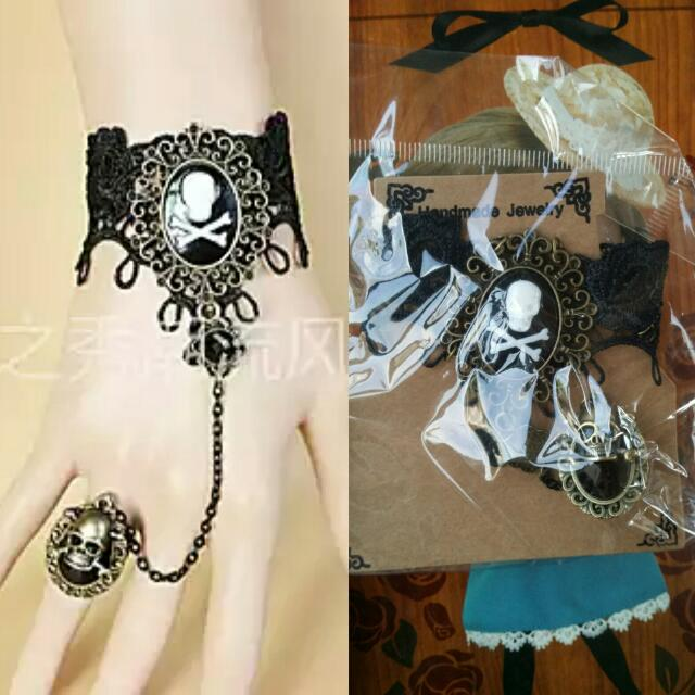 Skull Lace Bracelet With Ring