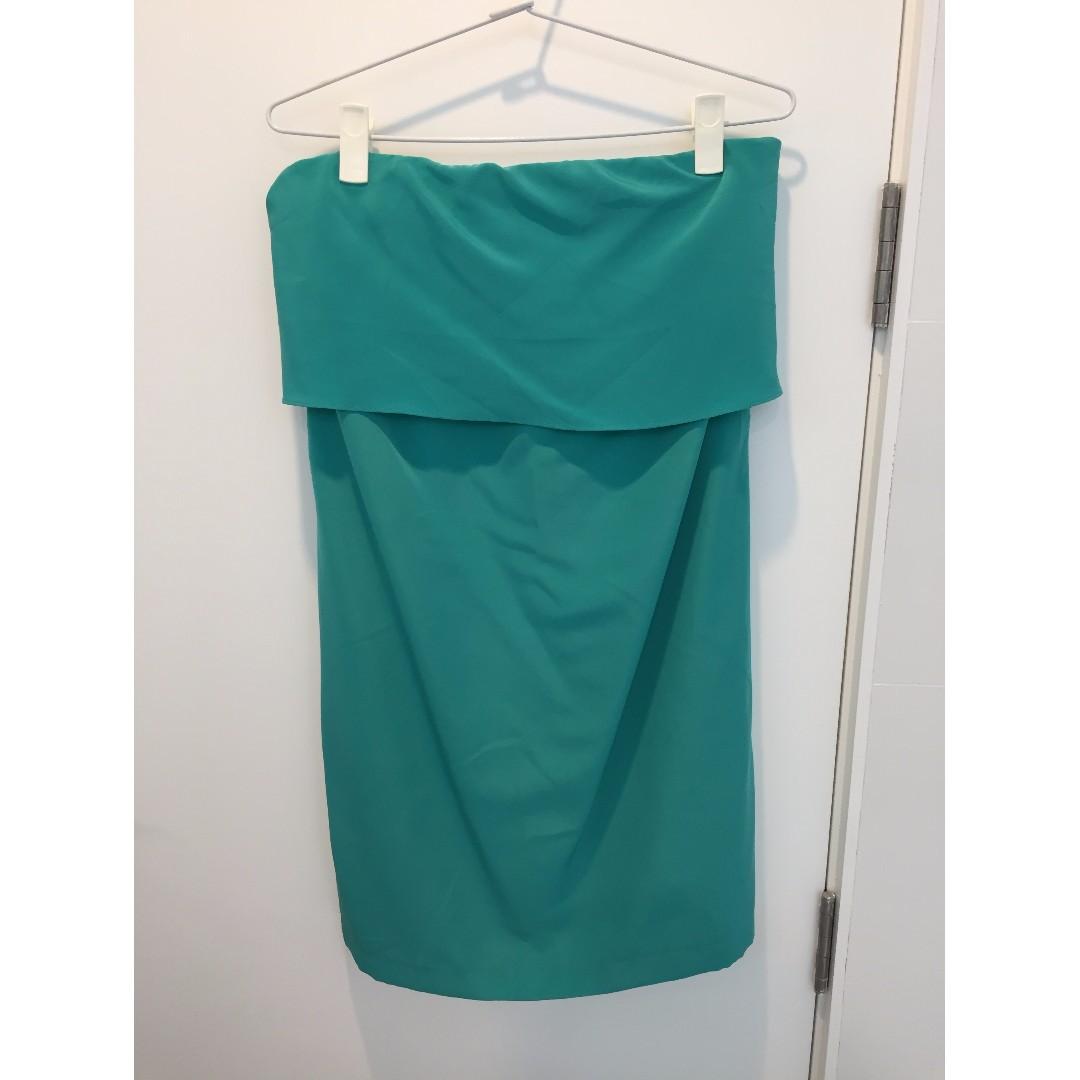 Strapless mint dress