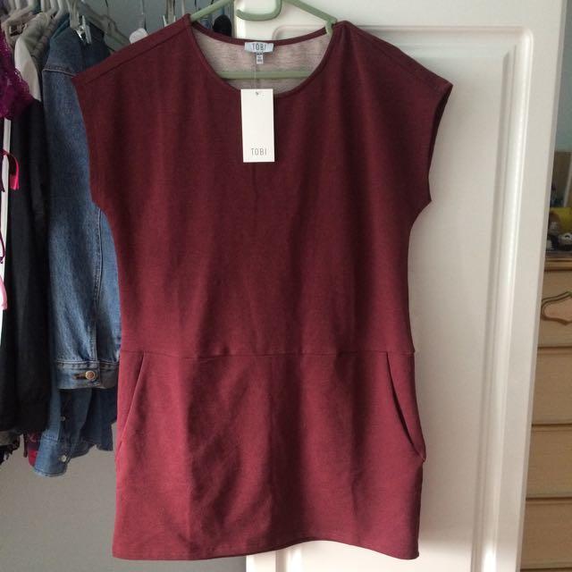 Tobi T Shirt Dress Burgundy