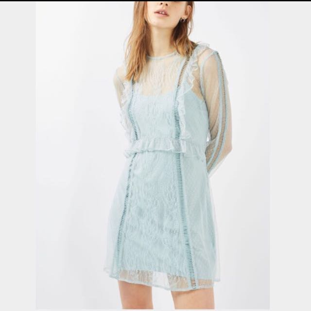 Topshop Dobby Lace Skater Dress Green 8