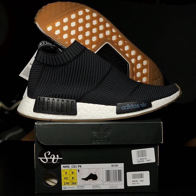 374db0961 US 9 Adidas Nmd CS1 Primeknit Shoes Gum Sole PK Color Core Black ...