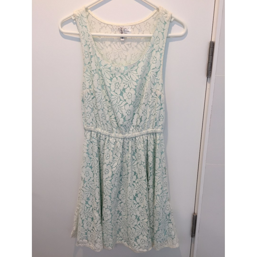 White lace dress with mint lining