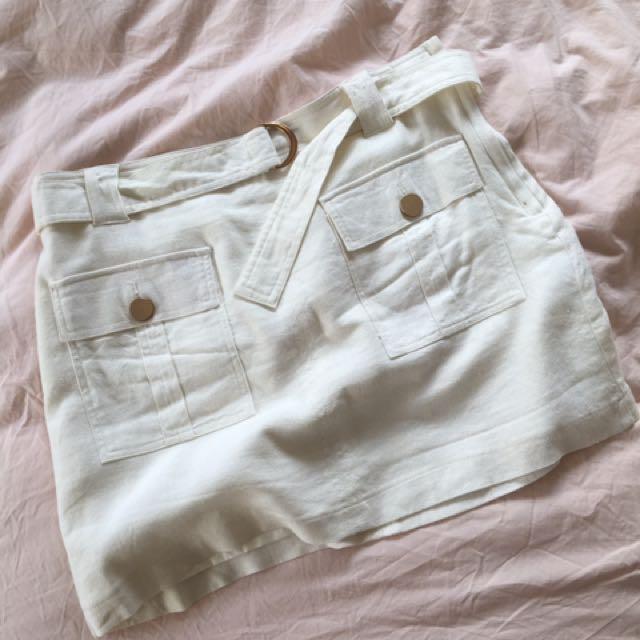 White Linen Belted Skirt