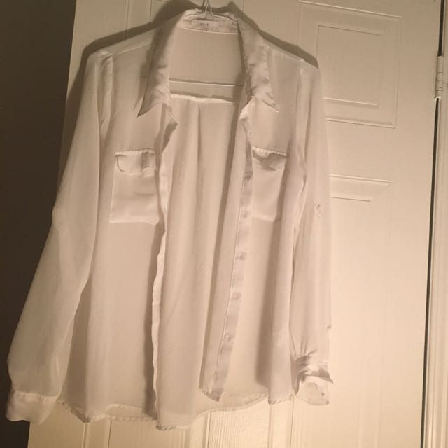 White Sheer Button-Up Blouse