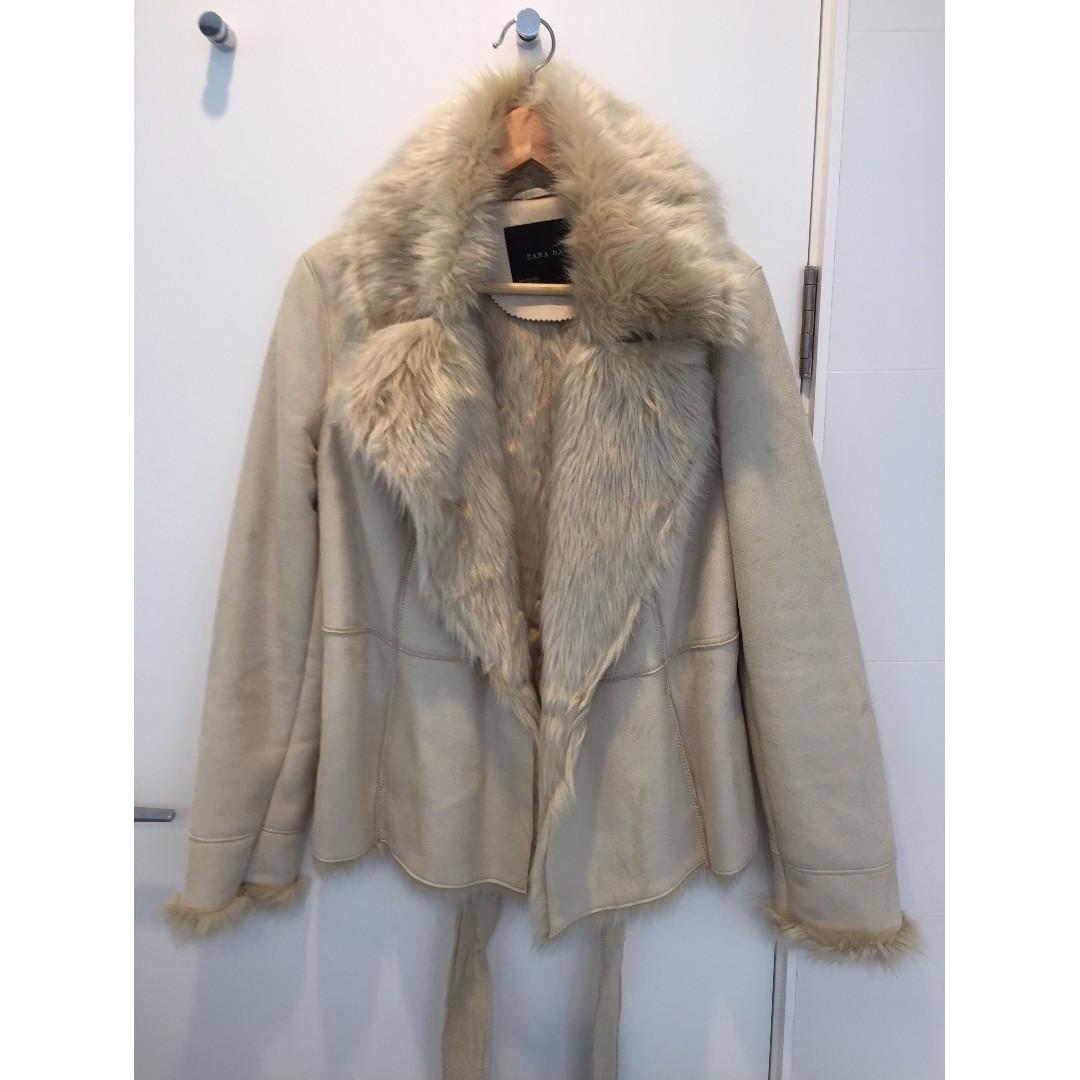 White suede, faux fur-lined coat
