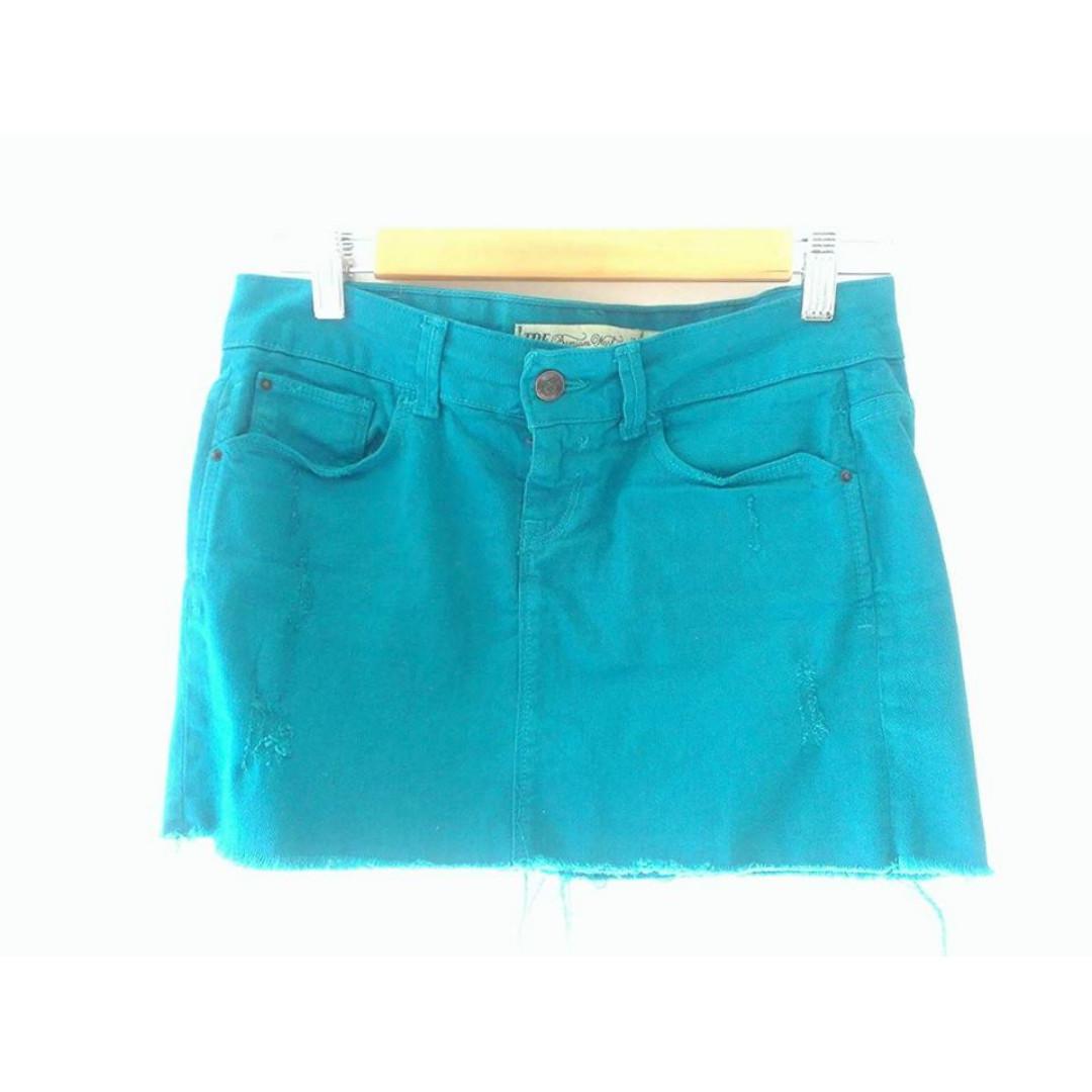 Zara Distressed Aqua Blue Skirt - Size 2