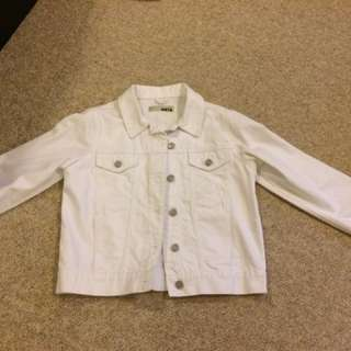 Topshop White Denim Moto Jacket