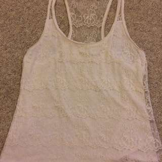 White Lace Abercrombie & Fitch Tank