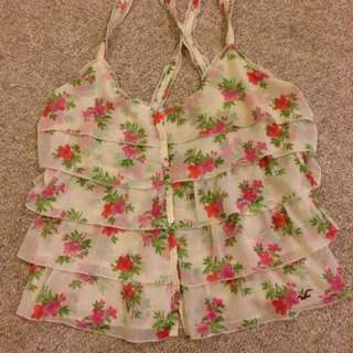 Cream Floral Hollister Tank