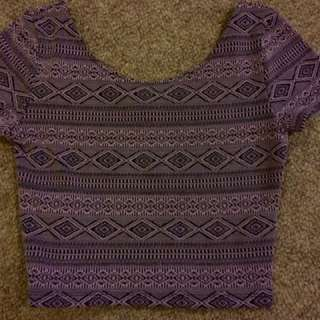 Purple & Black Aztec Crop Top