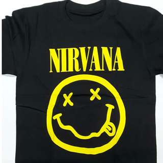 5549a5cab95 Nirvana - Yellow Smiley Foo Fighters T-shirt (S M L
