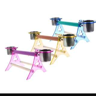 Parrot Arcylic Perch With Cups ( L )