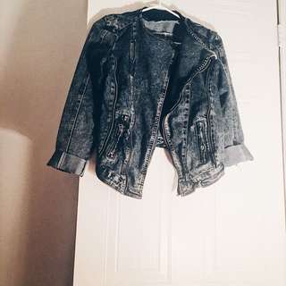 Dark Denim Biker Jacket