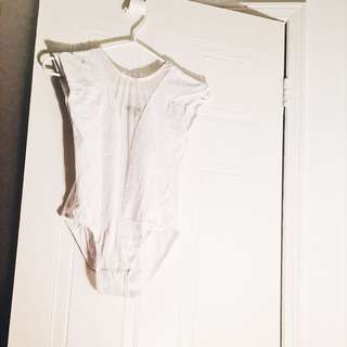 White Body Suit With Mesh Detail