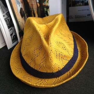 🌴黃色編織草帽深藍配色紳士帽 女款Vintage 古著