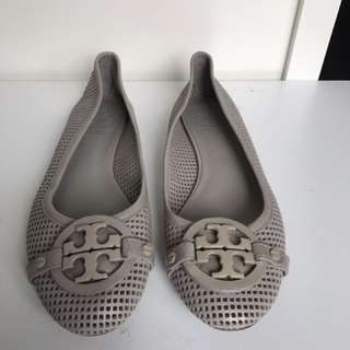 Tory Burch Grey Perforated Flats