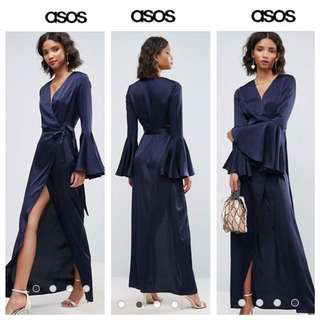 ASOS Flutted Sleeve Wrap Front Maxi Dress Size US 6